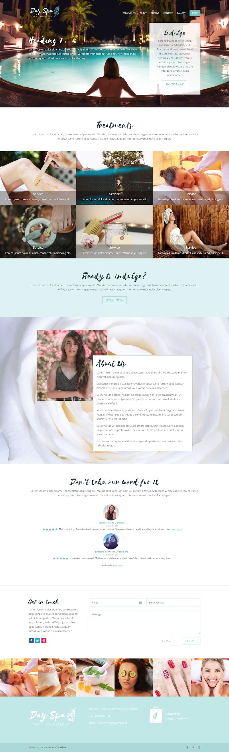 One Page Spa Website with Booking 2