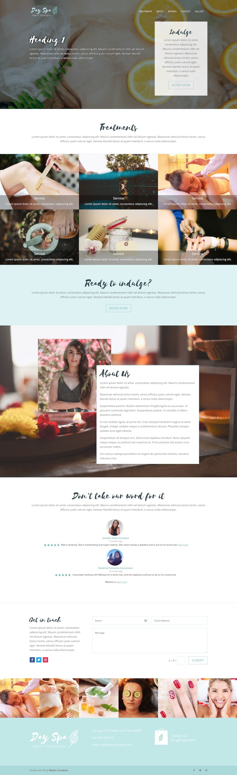 One Page Spa Website 2