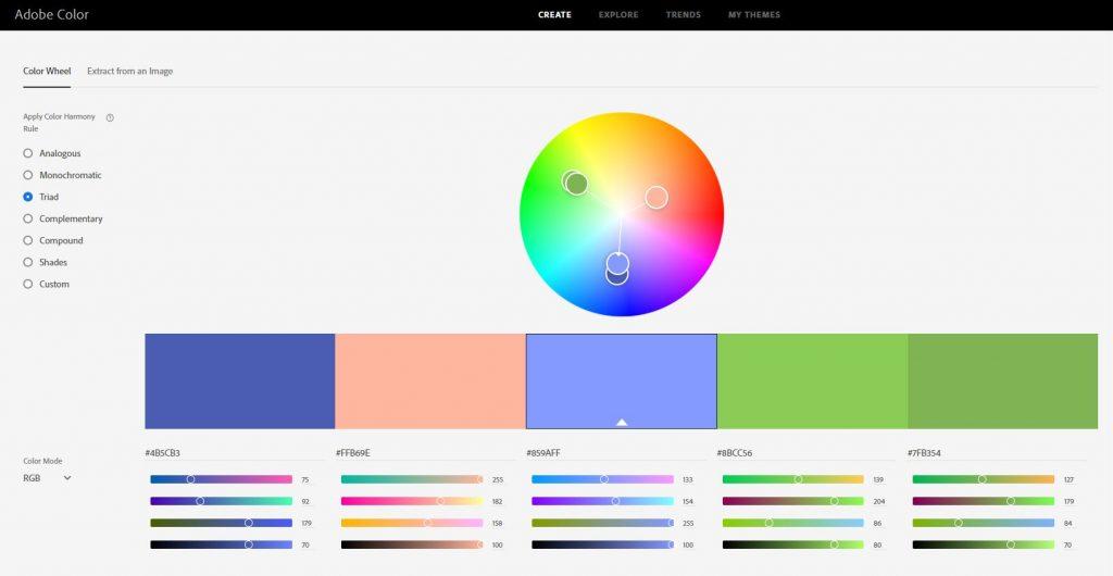 Triad Colours on Adobe CC