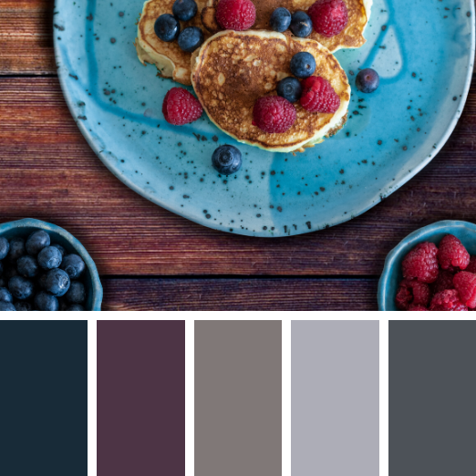 Blueberry and raspberry pancakes winter colour palette