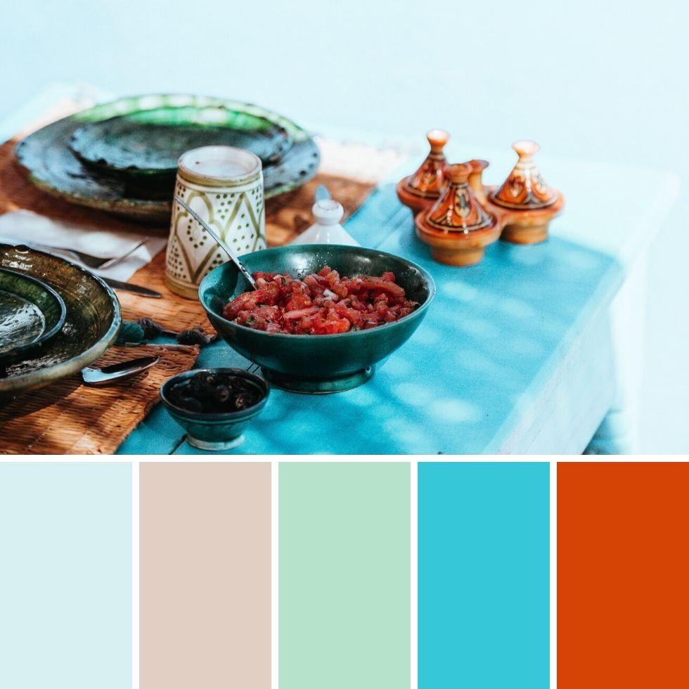 Summer brand colour palettes light blue ornamental food plate salad