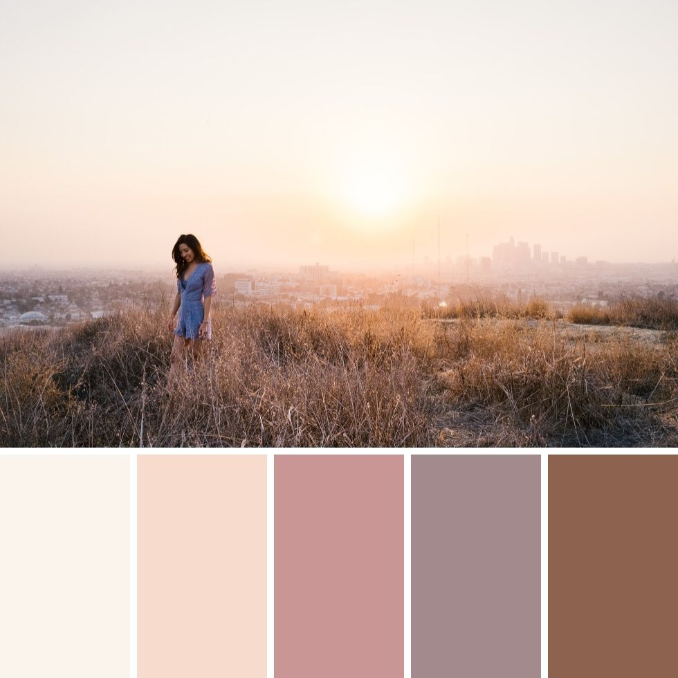 Smiling girl walking during sunset summer brand colour palette