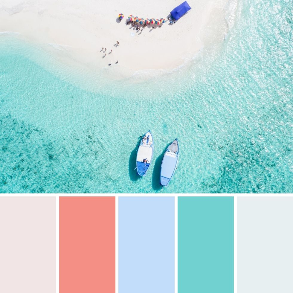 Summer brand colour palettes clear water beach and private boats