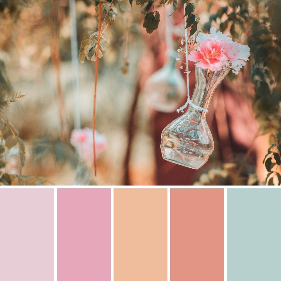 Summer brand colour palette pink flowers vase hanged