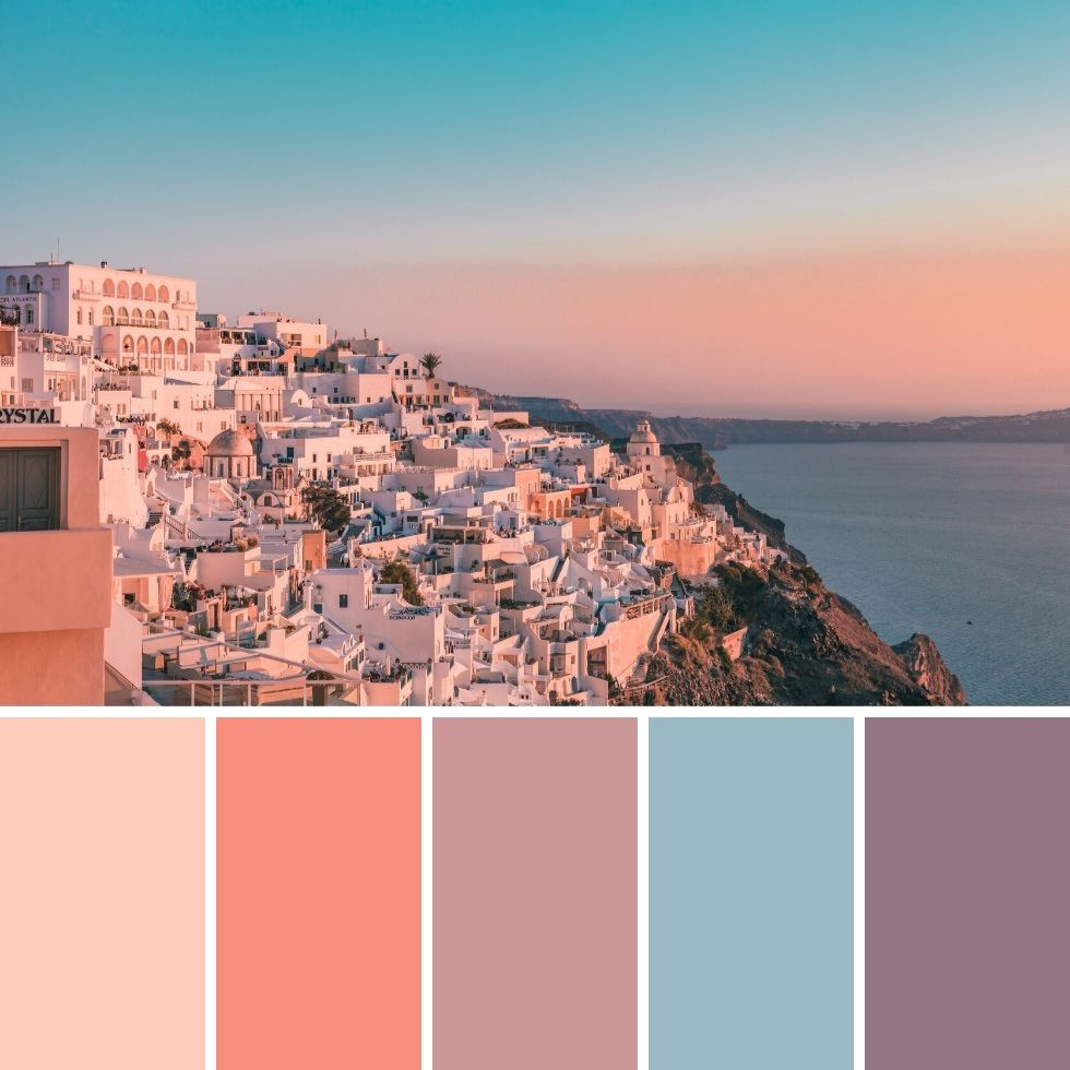 Santorini At Sunset Summer Brand Colour Palette