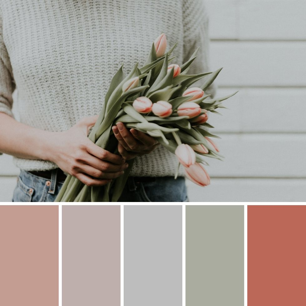 Summer brand colour palette girl holding pink tulips bouquet