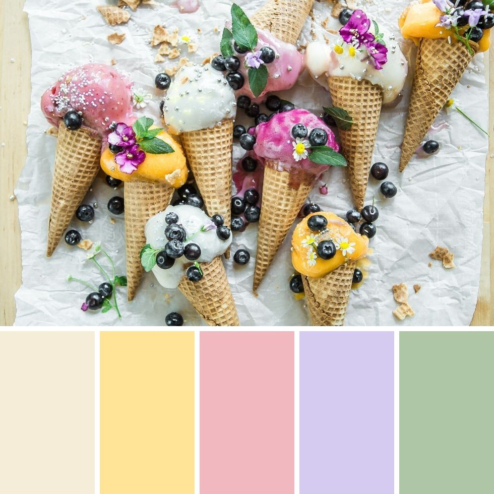 Summer brand colour palette multi flavoured ice cream on cone and berry