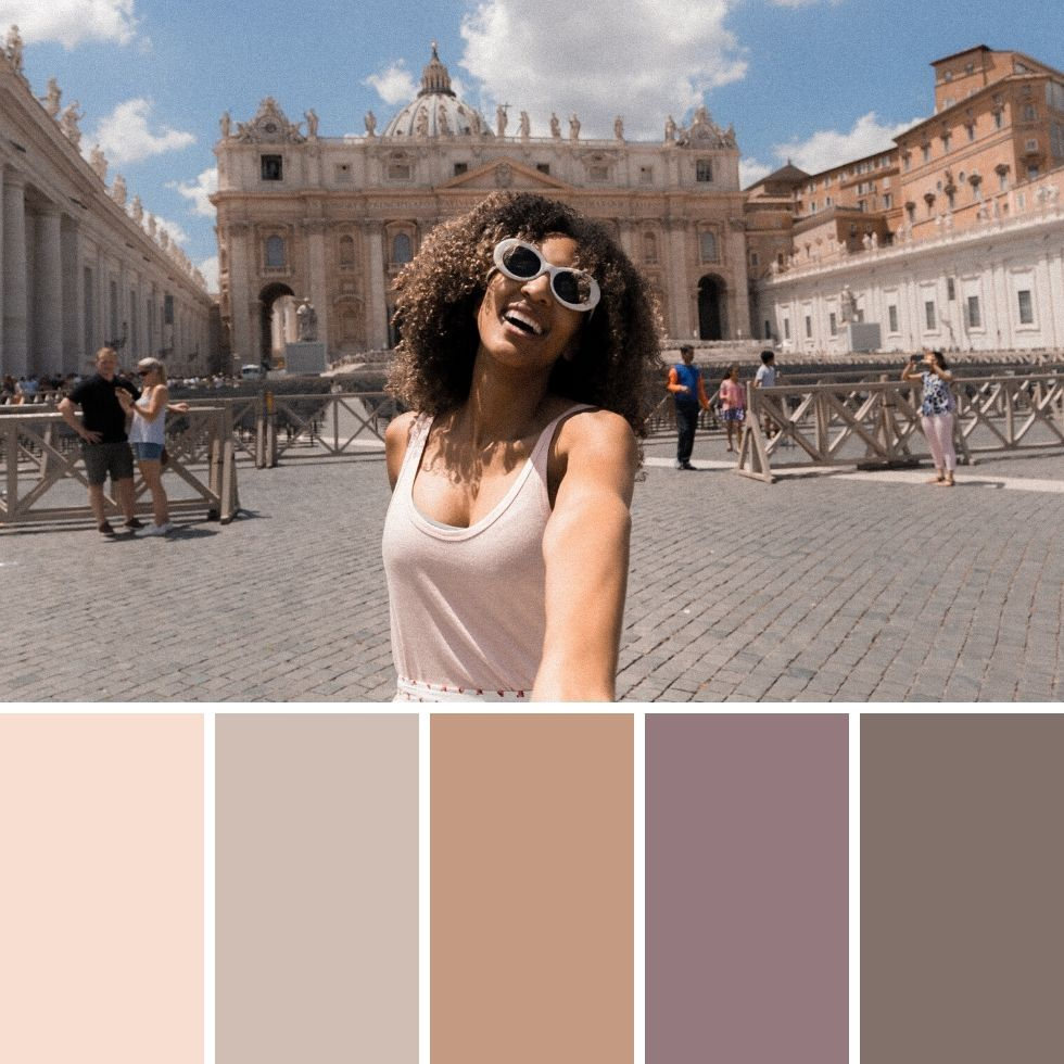 Summer brand colour palettes girl smiling in italy
