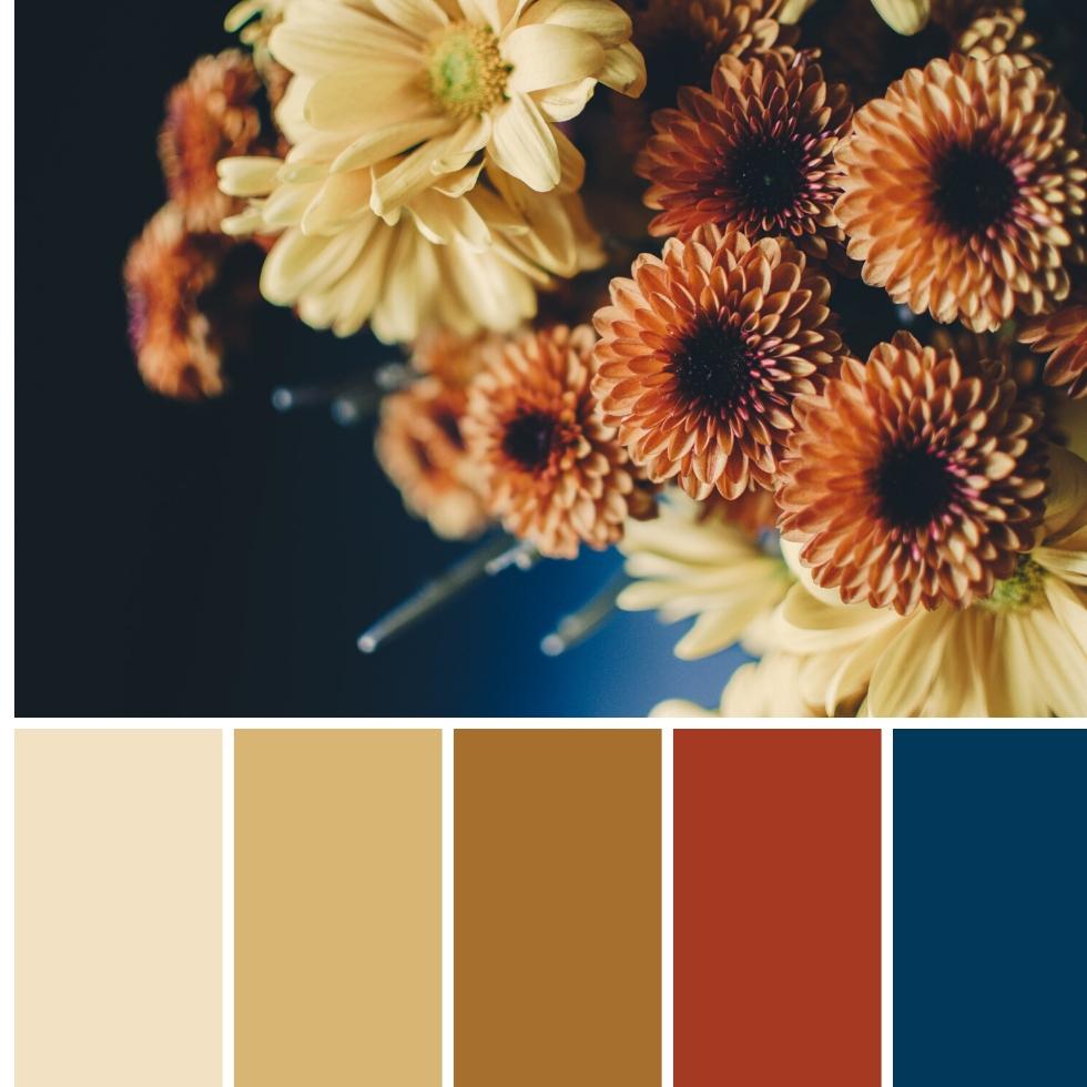 flowers bouquet autumn colour palette