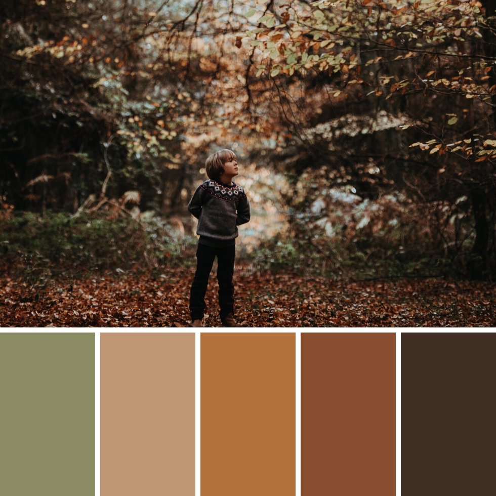 little boy in the forest autumn colour palette