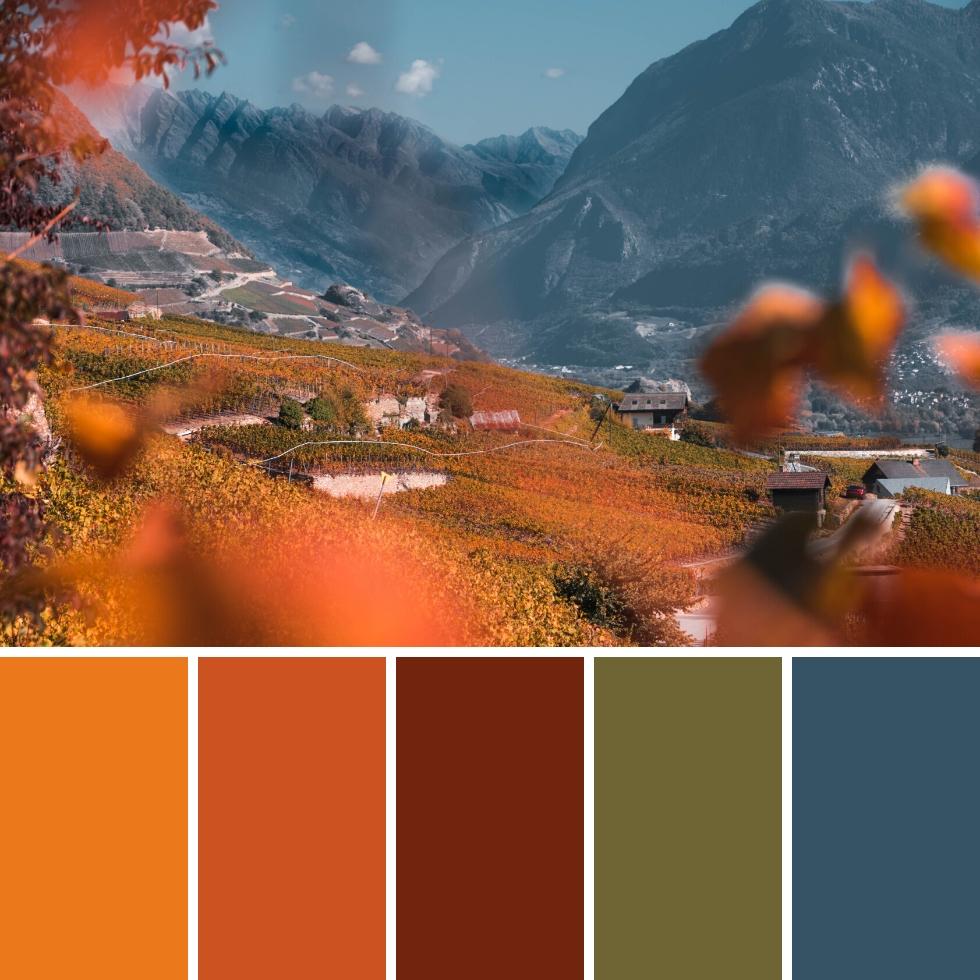 mountain landscape autumn brand colour palette