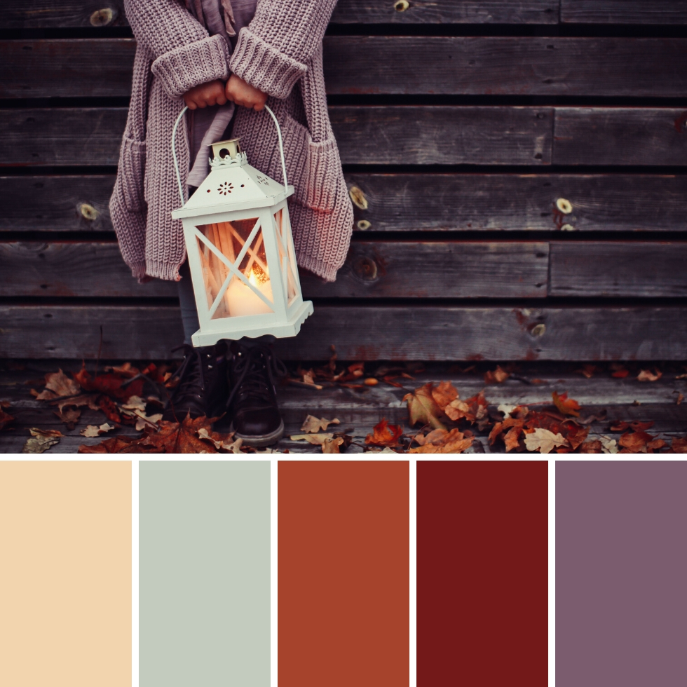 girl holding lamp outdoors and leaves autumn colour palette