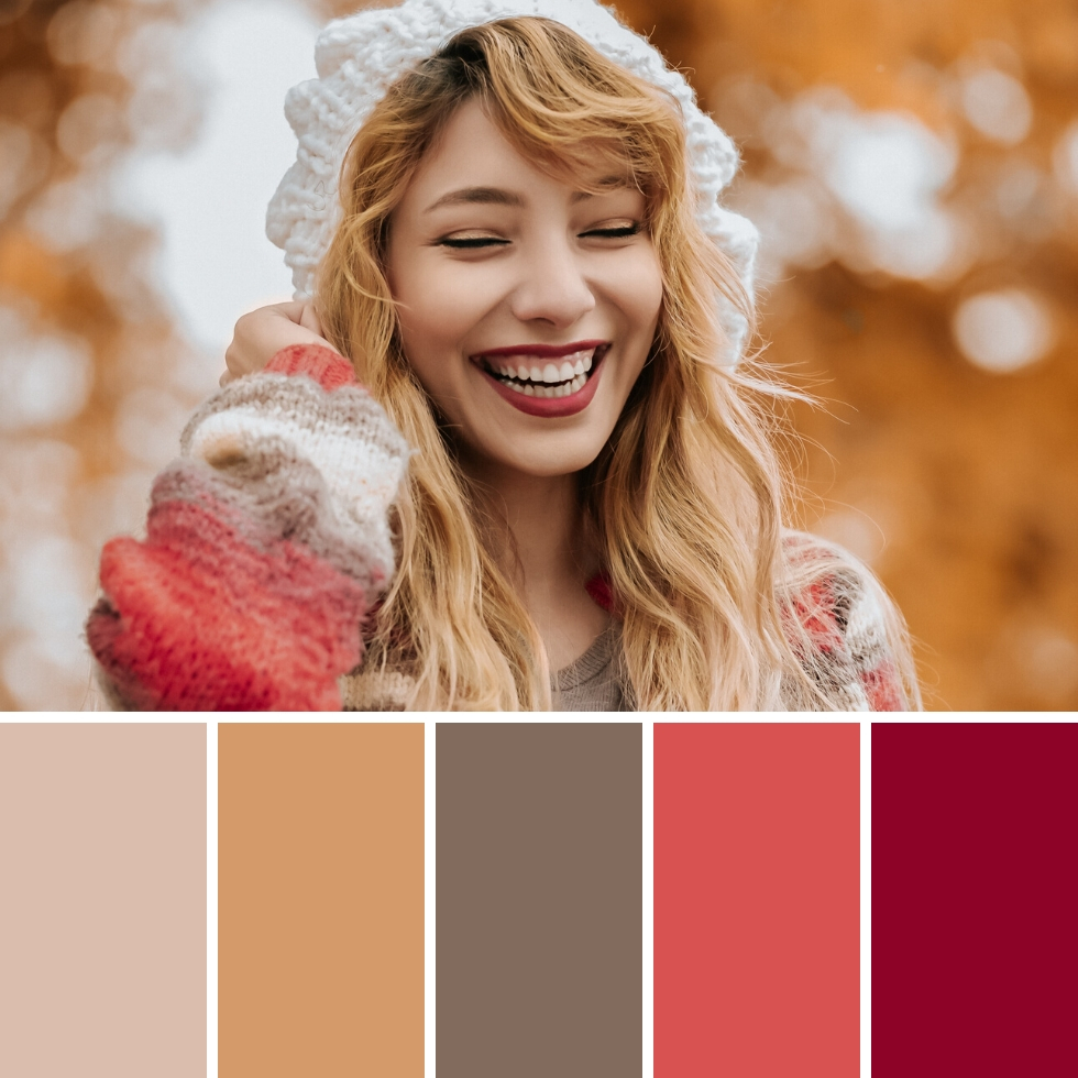 blonde girl smiling wearing white hat autumn colour palette