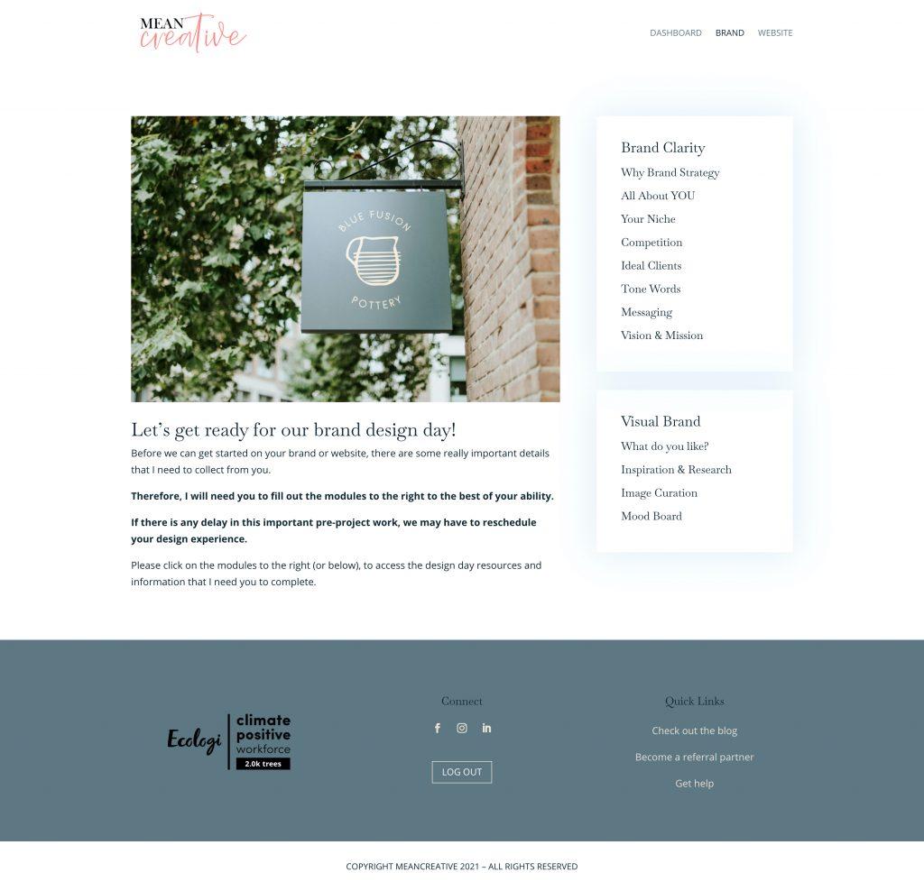 brand strategy client portal screenshot