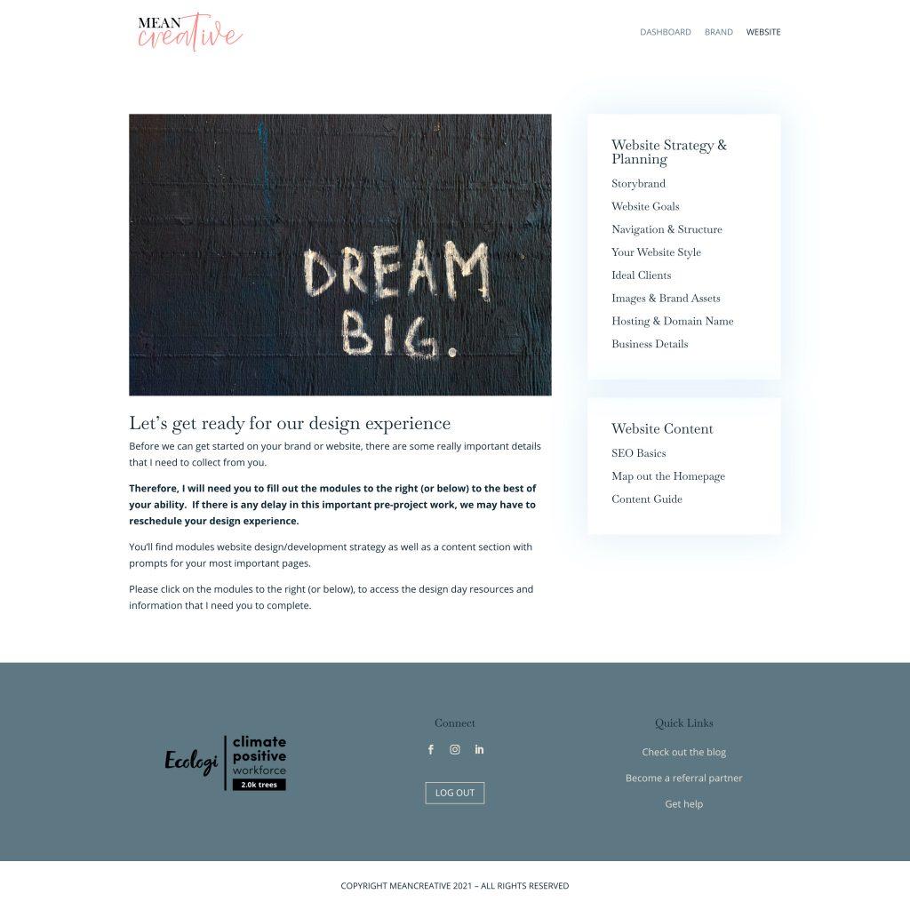 website design strategy client portal screenshot